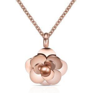 Chanel Style Camellia Pendant Necklace